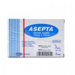 ASEPTA стерилни марлени компреси 15cm x 15cm 12 бр