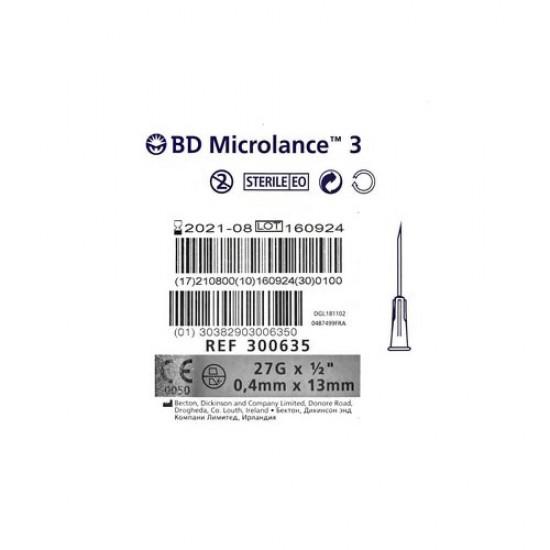 "BD Microlance 3 Игли 27G x 1/2"" – 0.4x13mm 100бр"